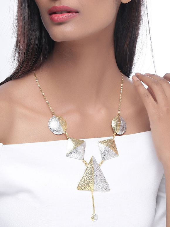 Dual Toned Handcrafted Brass Triangle Necklace