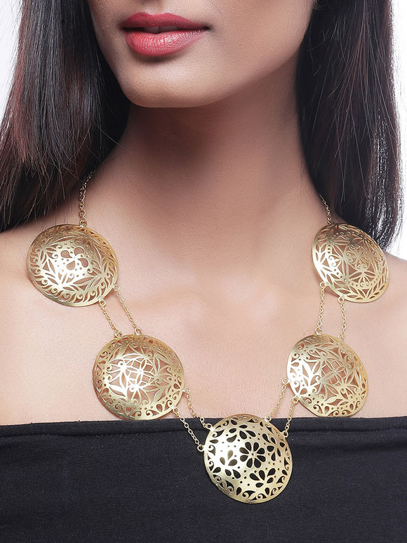 Golden Plated Handcrafted Brass Necklace