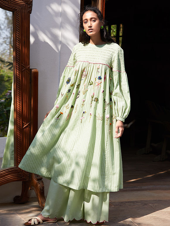 Pista Green Hand Embroidered Cotton Mul Kurta with Scalloped Palazzo- Set of 2