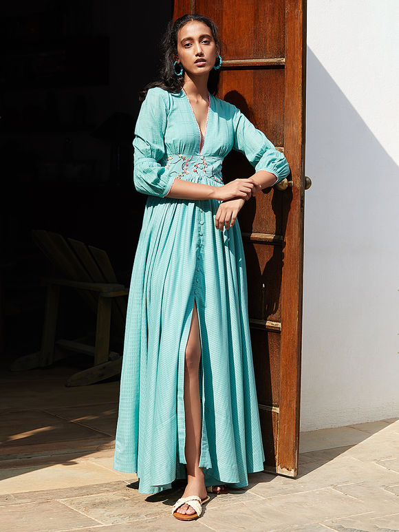Turquoise Hand Embroidered Cotton Mul Maxi Dress