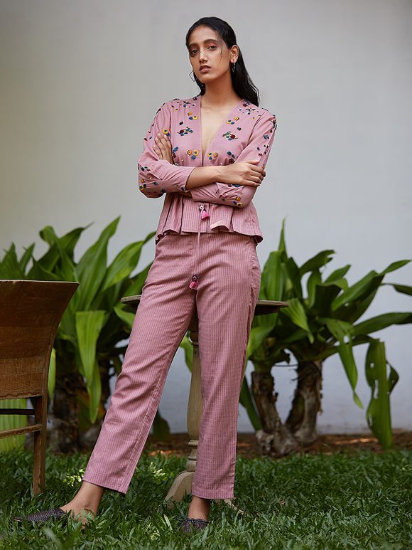 Pink Hand Embroidered Cotton Mul Top with Striped Trousers- Set of 2