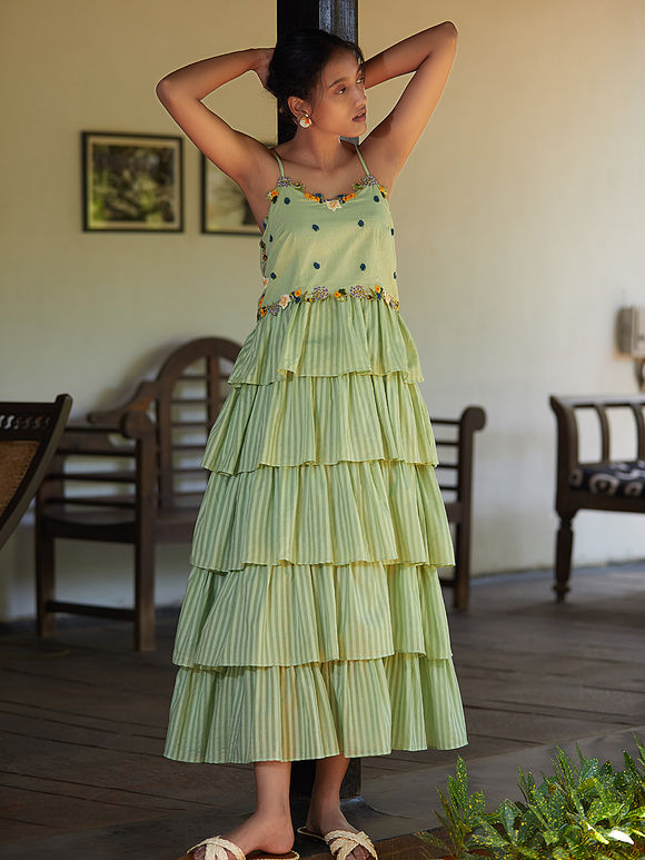 Pista Green Hand Embroidered Cotton Mul Tiered Dress