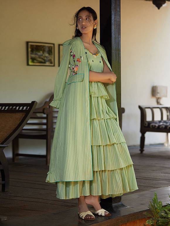 Pista Green Hand Embroidered Cotton Mul Jacket