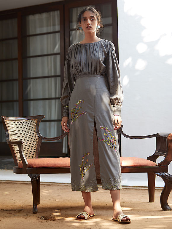 Grey Hand Embroidered Cotton Mul Gathered Dress