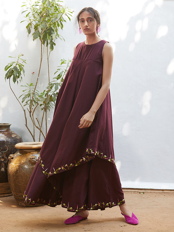 Wine Hand Embroidered Cotton Mul Jumpsuit