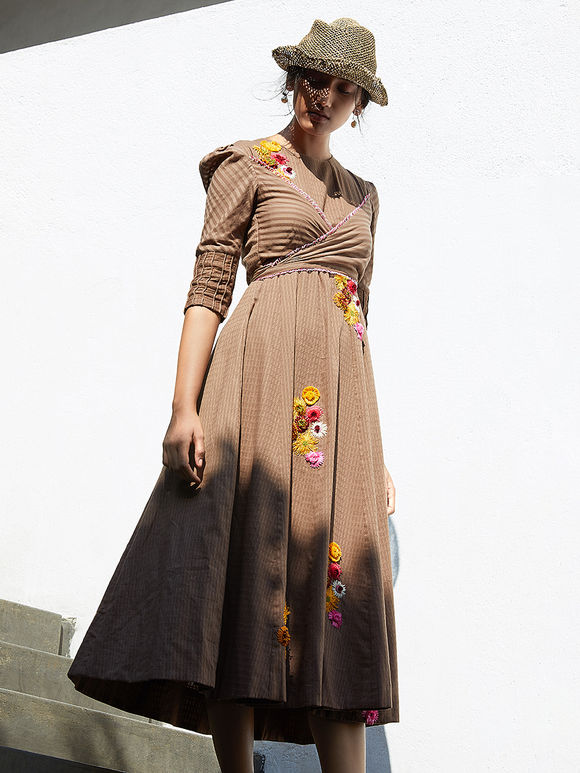 Brown Hand Embroidered Coton Mul Dress