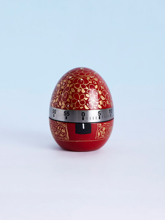 Red Hand Painted Steel Egg Timer