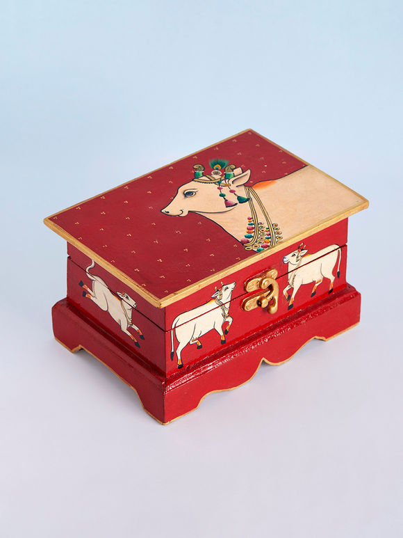 Red Hand Painted Wooden Jewellery Box