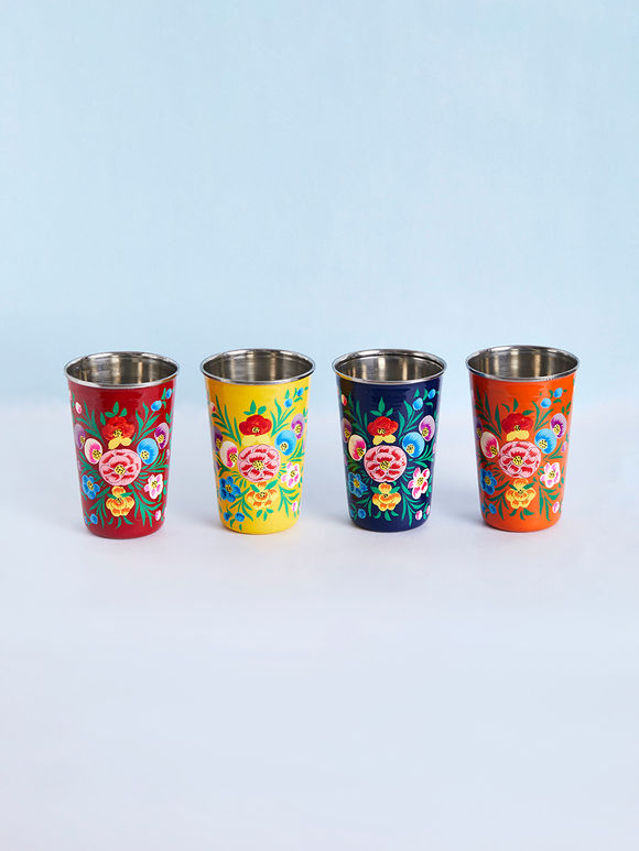 Orange Red Yellow Blue Hand Painted Steel Floral Tumblers - Set of 4