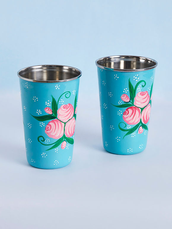 Turquoise Pink Hand Painted Steel Floral Tumblers - Set of 2