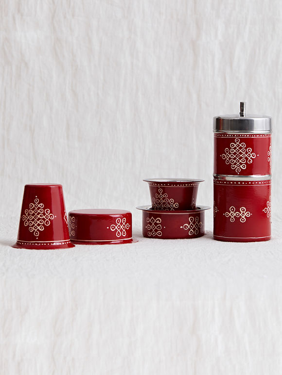 Red Hand Painted Steel Traditional Coffee Filter with Davara - Set of 5