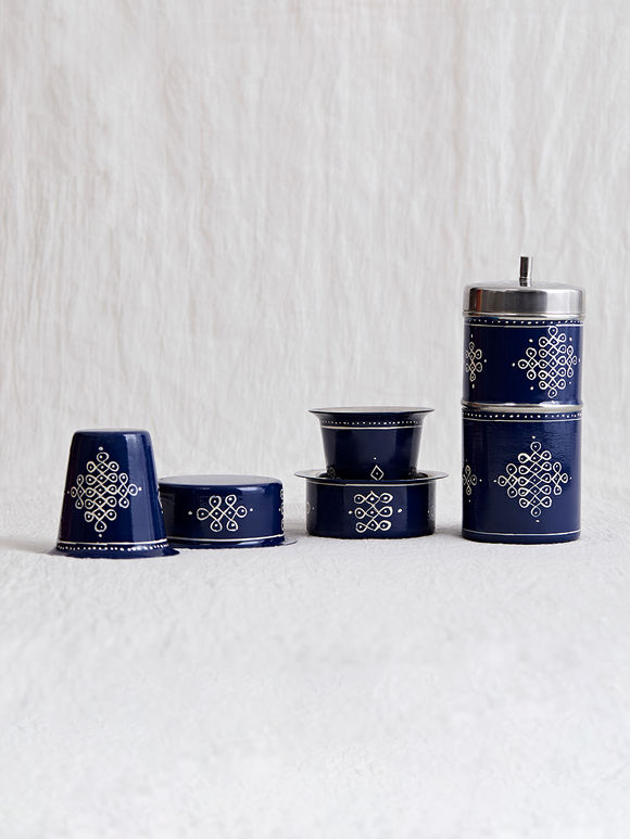 Blue Hand Painted Steel Traditional Coffee Filter with Davara - Set of 5