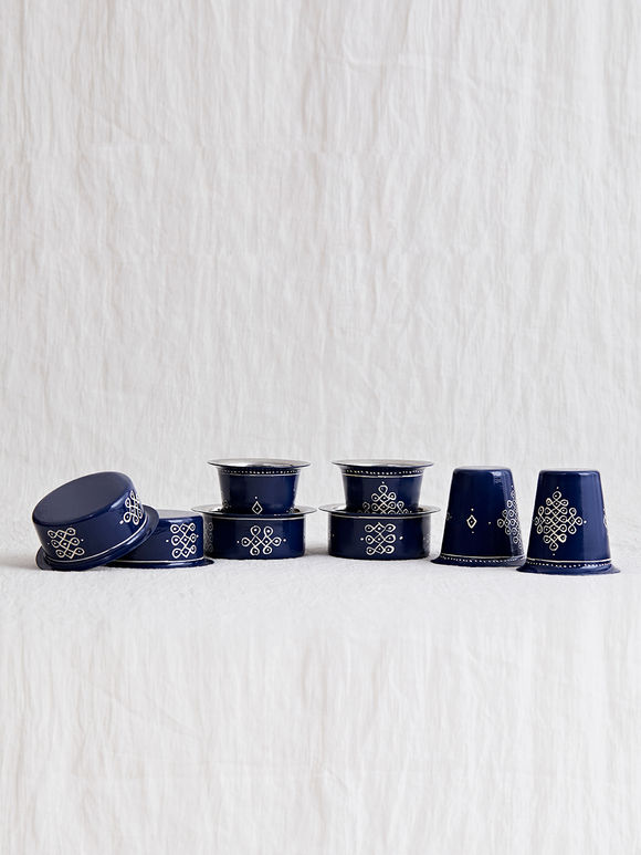 Blue Hand Painted Steel Traditional Tumbler and Davara Set- Set of 8