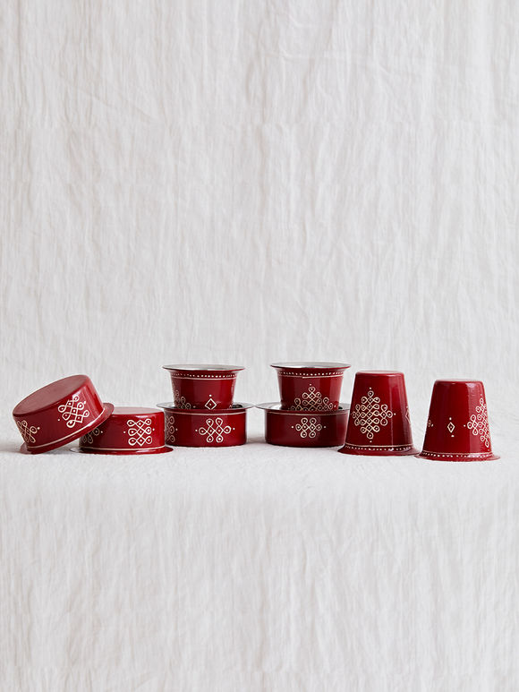 Red Hand Painted Steel Traditional Tumbler and Davara Set- Set of 8