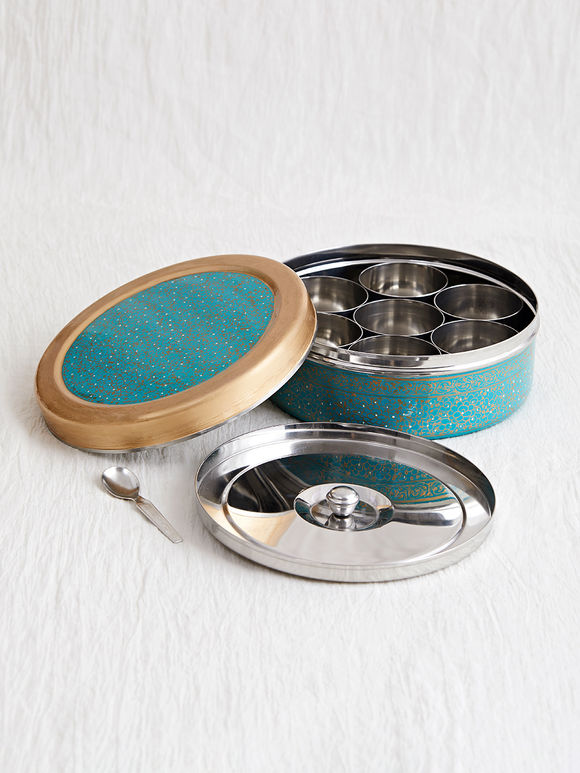 Teal Blue Hand Painted Steel Spice Box