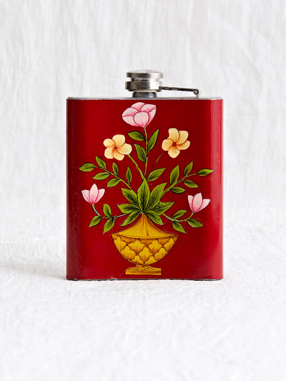 Red Hand Painted Steel Hip Flask