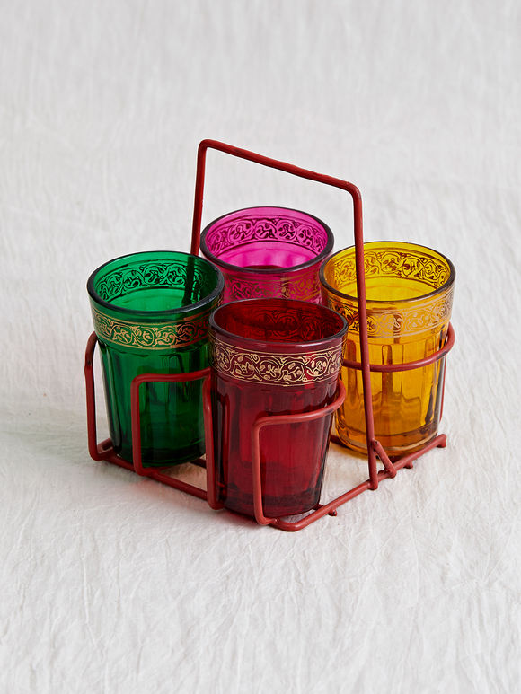 Multicolor Hand Painted Tapri Glasses with Steel Stand- Set of 5
