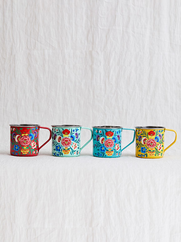 Multicolor Hand Painted Steel Mugs- Set of 4