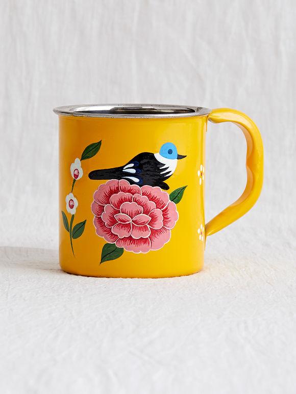 Yellow Hand Painted Steel Mug