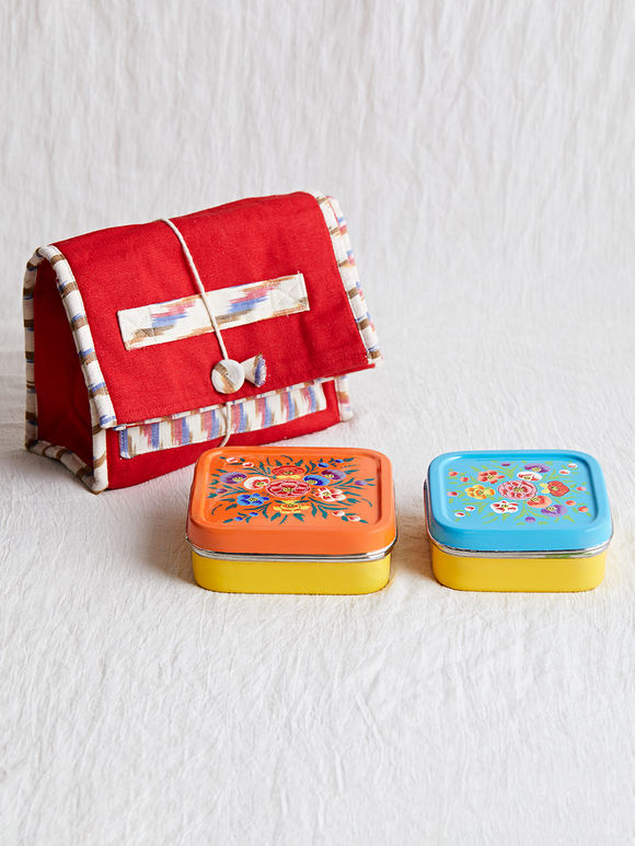 Orange Blue Hand Painted Steel Lunch Box with Red Ikat Lunch Bag- Set 3
