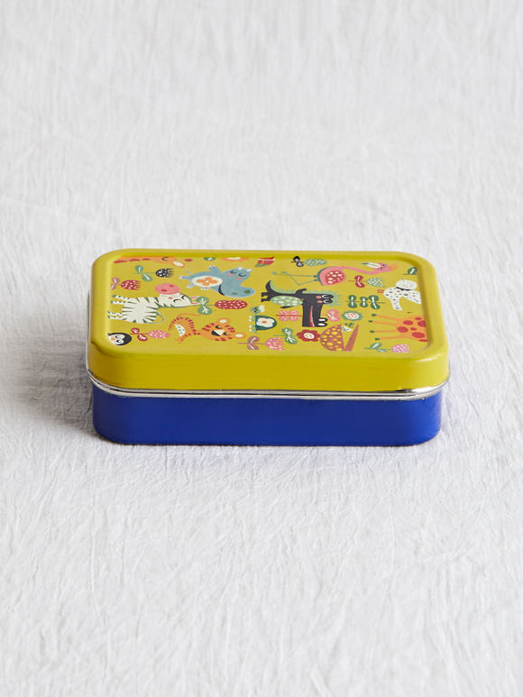 Blue Green Hand Painted Steel Lunch Box