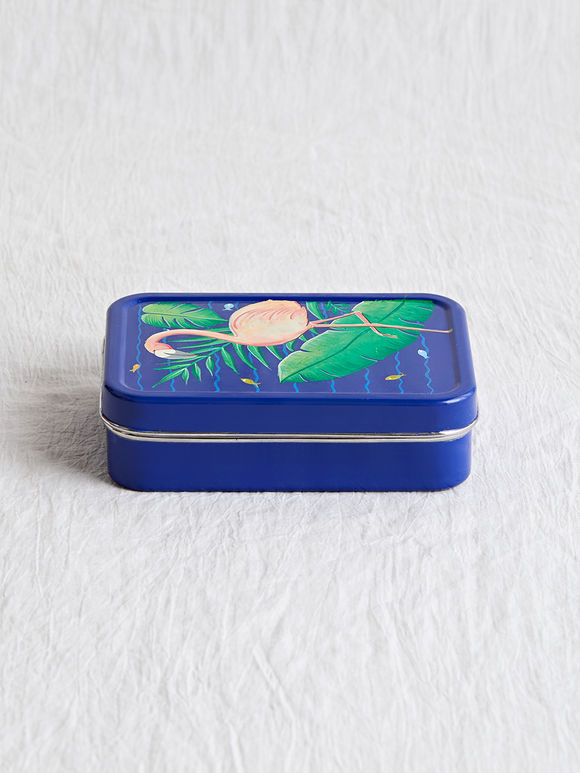 Blue Hand Painted Steel Flamingo Lunch Box