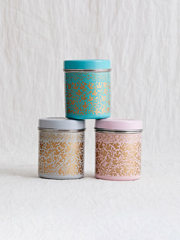 Pink Grey Blue Hand Painted Steel Canisters - Set of 3
