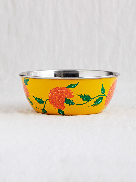 Yellow Hand Painted Steel Bowl