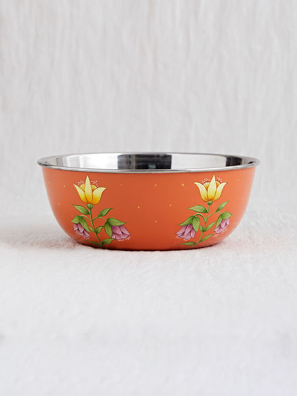Orange Hand Painted Steel Bowl