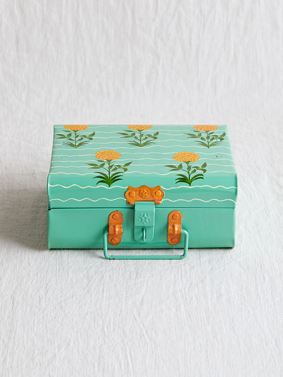Mint Green Hand Painted Steel Trunk