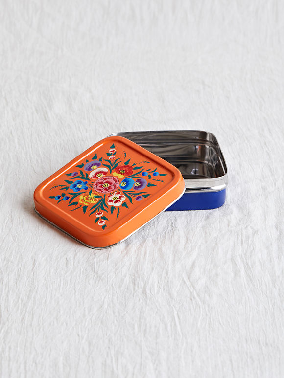 Blue Orange Hand Painted Steel Lunch Box