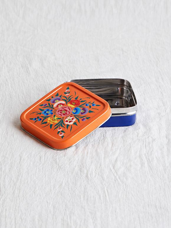 Blue Orange Hand Painted Steel Lunch Box