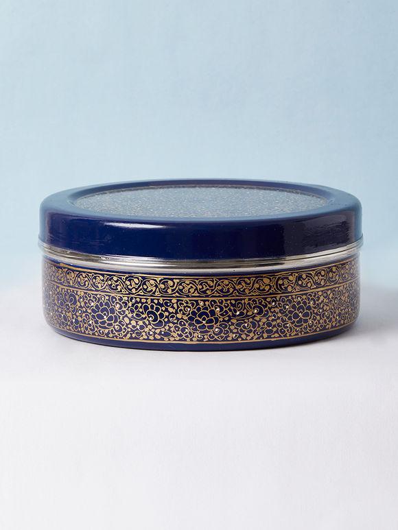 Navy Blue Hand Painted Steel Masala Box