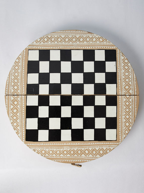 Beige Hand Painted Chess Board Wooden Jewellery Box