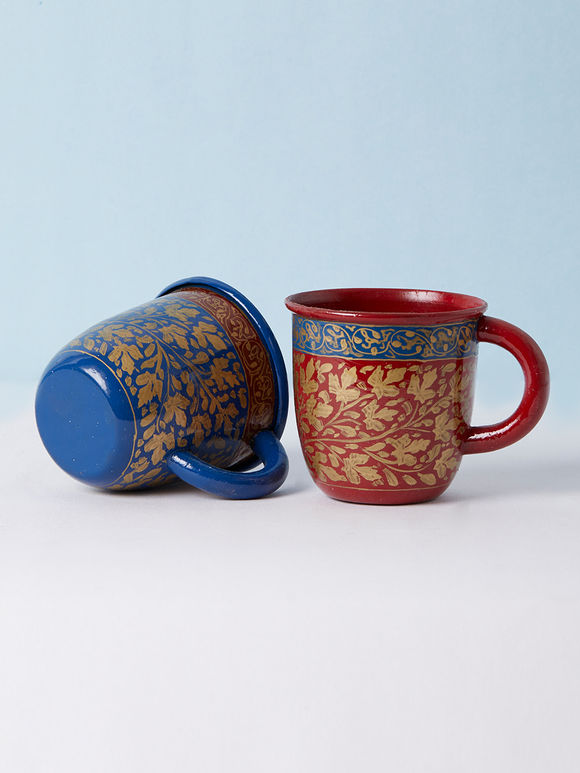 Red Blue Hand Painted Metal Cup - Set of 2