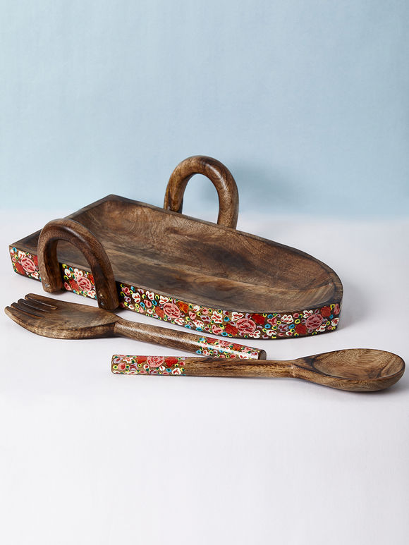 Multicolor Hand Painted Wooden Serving Platter - Set of 3