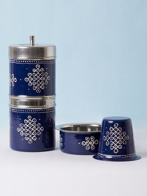 Navy Blue Hand Painted Steel Traditional Coffee Filter with Bowl and Tumbler - Set of 3