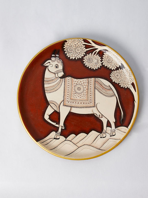 Maroon Beige Cow Hand Painted Wood Wall Decor Plate