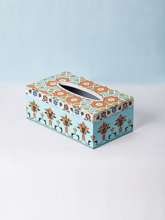 Blue Hand Painted Wooden Tissue Box