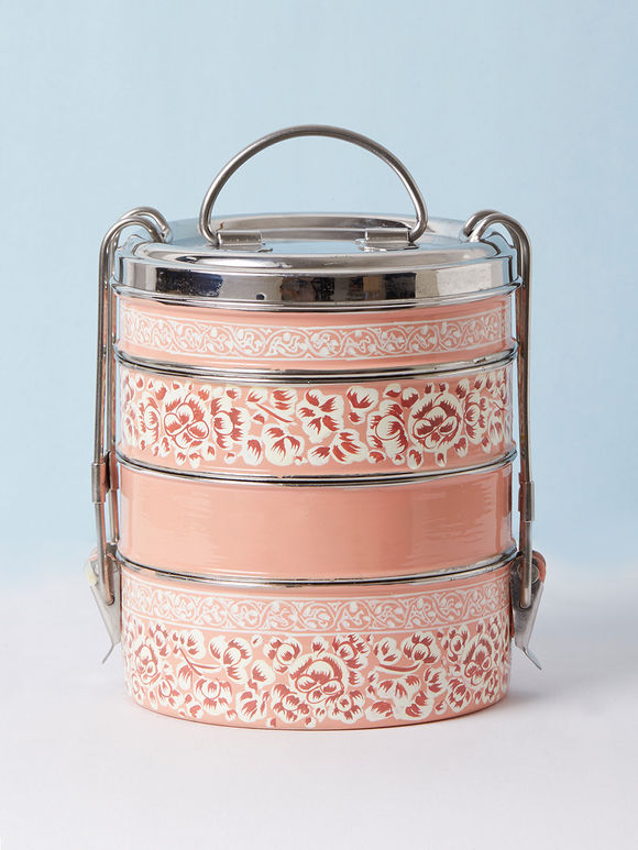Peach Hand Painted Steel Cylindrical 4 Tier Carrier