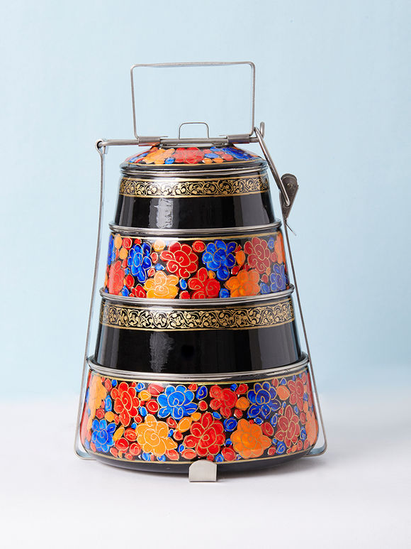 Multicolor Hand Painted Steel Pyramid 4 Tier Carrier