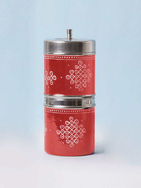Red Hand Painted Steel Traditional Coffee Filter