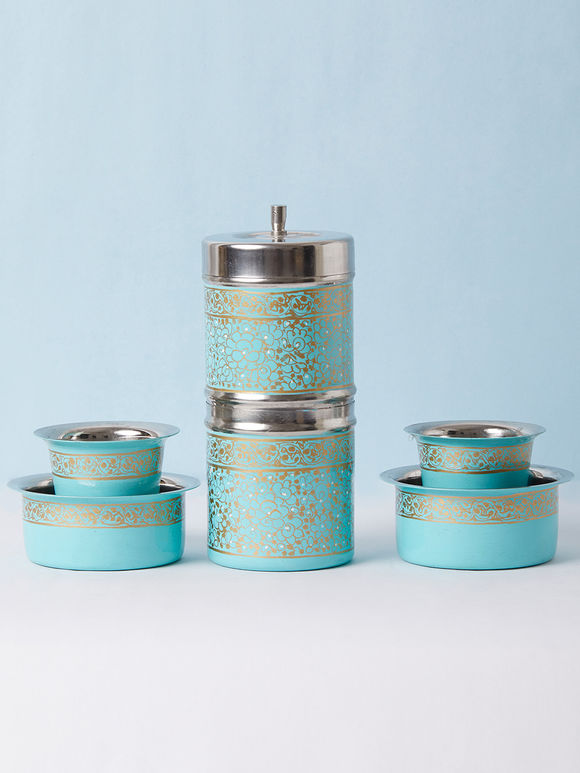 Aqua Blue Hand Painted Steel Traditional Coffee Filter with Bowl and Tumbler - Set of 3