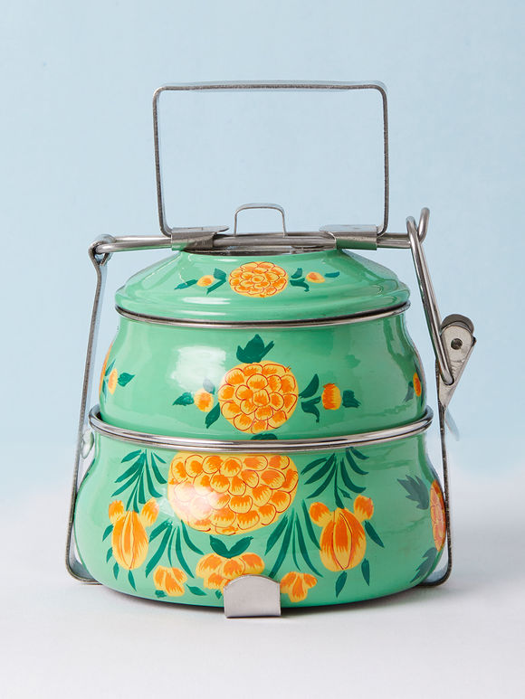 Green Hand Painted Steel Pyramid 2 Tier Carrier