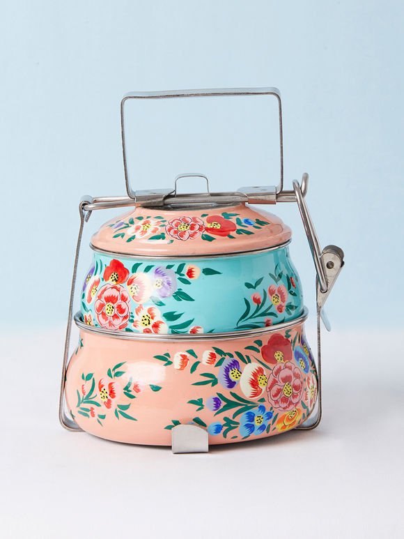 Peach Blue Hand Painted Steel Pyramid 2 Tier Carrier