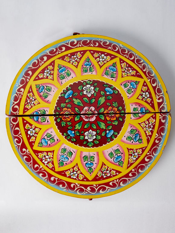 Red Hand Painted Wooden Semi Circle Jewelry Box
