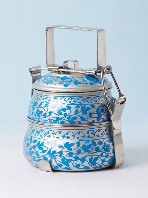 Silver Blue Hand Painted Steel Pyramid 2 Tier Carrier
