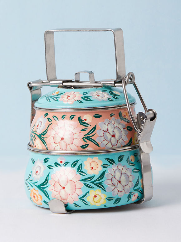 Blue Peach Hand Painted Steel Pyramid 2 Tier Carrier