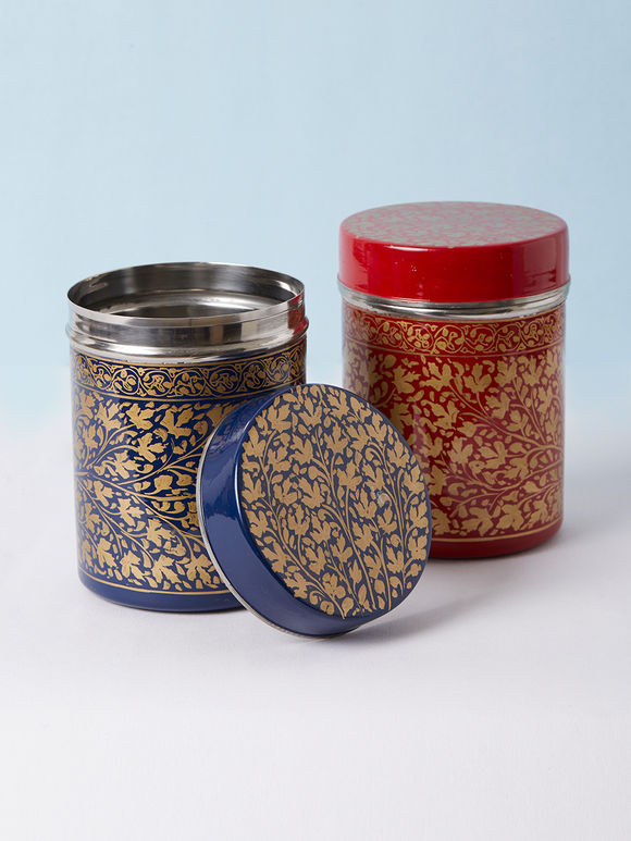 Red Blue Hand Painted Steel Canisters - Set of 2