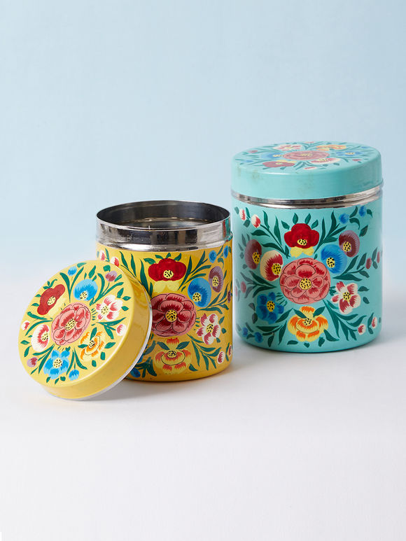 Firozi Yellow Hand Painted Steel Canisters - Set of 2